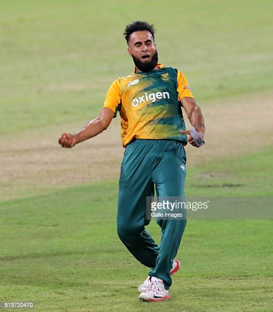 Imran Tahir celebrates during the 1st KFC T20 International match between South Africa and Australia at Sahara Stadium Kingsmead on March 04 2016 in...