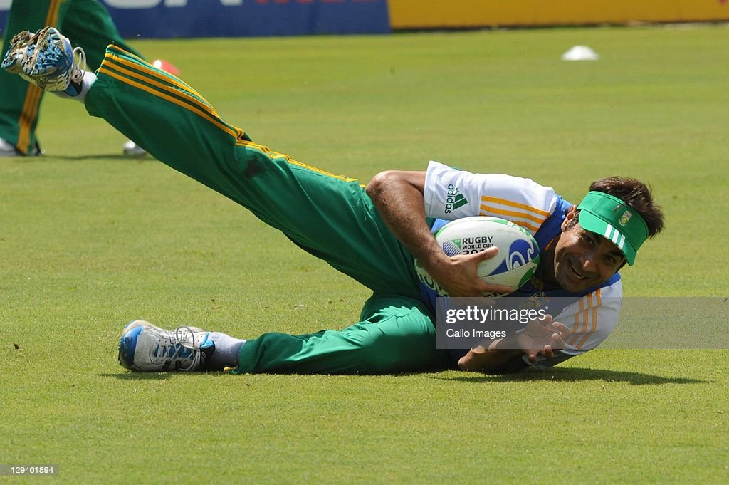 Imran Tahir during the South African Proteas nets session at SuperSport Park, Centurion on October 17, 2011 in Pretoria, South Africa.