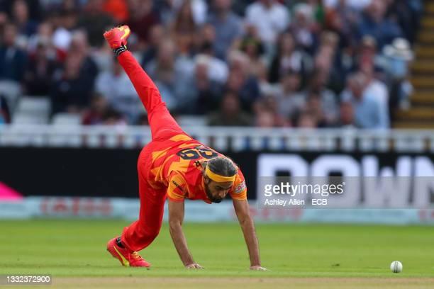 Imran Tahir of Birmingham Phoenix during The Hundred match between Birmingham Phoenix Men and Oval Invincibles Men at Edgbaston on August 04, 2021 in...