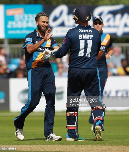 Imran Tahir of Derbyshire Falcons celebrates the wicket of Aadil Ali of Leicestershire Foxes during the Natwest T20 Blast match between Derbyshire...