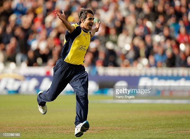 Imran Tahir of Hampshire celebrates taking a wicket during the Friends Life T20 semi final match between Hampshire and Somerset at Edgbaston on...