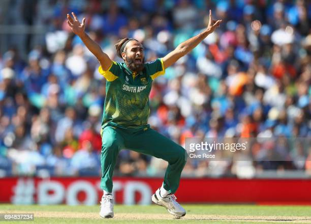 Imran Tahir of South Africa appeals unsuccesfully for a wicket during the ICC Champions trophy cricket match between India and South Africa at The...