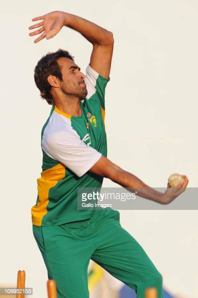Imran Tahir of South Africa bowls during a Proteas nets session at VCA Stadium on March 11 2011 in Nagpur India