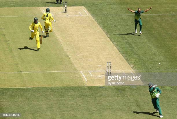 Imran Tahir of South Africa celebrates after Quinton de Kock of South Africa took a catch to dismiss Alex Carey of Australia during game one of the...