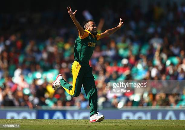 Imran Tahir of South Africa celebrates after taking the wicket of Mahela Jayawardene of Sri Lanka during the 2015 ICC Cricket World Cup Quarter Final...
