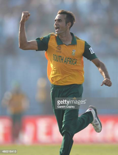 Imran Tahir of South Africa celebrates dismissing Kusal Perera of Sri Lanka during the ICC World Twenty20 Bangladesh 2014 Group 1 match between Sri...