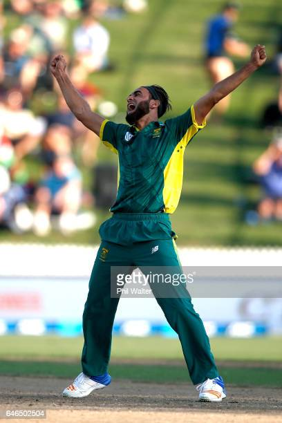 Imran Tahir of South Africa celebrates his wicket of Kane Williamson of New Zealand during game four of the One Day International series between New...