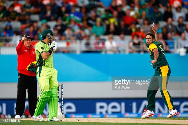 Imran Tahir of South Africa celebrates his wicket of Wahab Riaz of Pakistan during the 2015 ICC Cricket World Cup match between South Africa and...