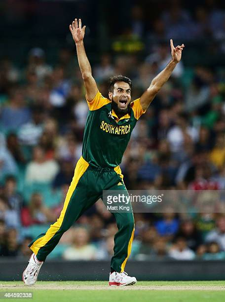 Imran Tahir of South Africa celebrates taking the wicket of Darren Sammy of West Indies during the 2015 ICC Cricket World Cup match between South...