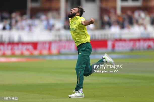 Imran Tahir of South Africa celebrates taking the wicket of Imam-ul-Haq of Pakistan during the Group Stage match of the ICC Cricket World Cup 2019...