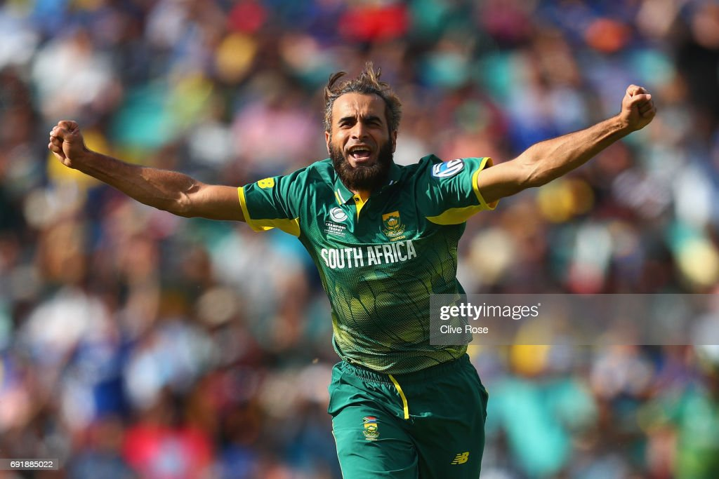 Imran Tahir of South Africa celebrates the wicket of Asela Gunaratne of Sri Lanka during the ICC Champions trophy cricket match between Sri Lanka and South Africa at The Oval in London on June 3, 2017