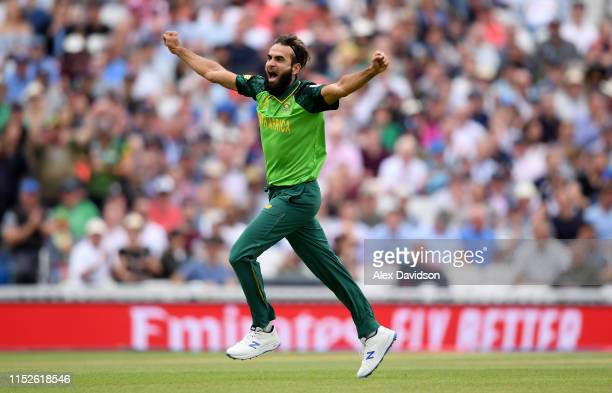 Imran Tahir of South Africa celebrates the wicket of Eoin Morgan of England during the Group Stage match of the ICC Cricket World Cup 2019 between...