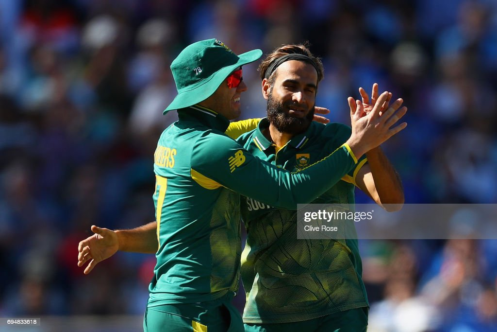 Imran Tahir of South Africa celebrates the wicket of Shikhar Dhawan of India during the ICC Champions trophy cricket match between India and South Africa at The Oval in London on June 11, 2017