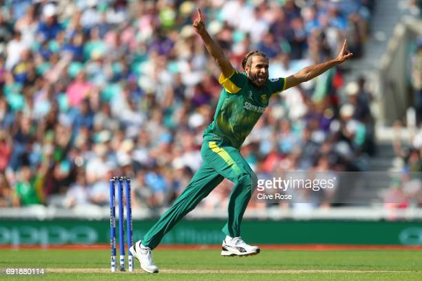 Imran Tahir of South Africa celebrates the wicket of Upul Tharanga of Sri Lanka during the ICC Champions trophy cricket match between Sri Lanka and...