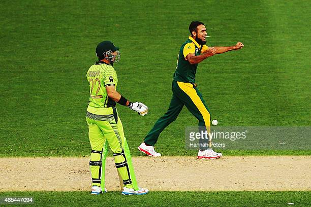 Imran Tahir of South Africa celebrates the wicket of Wahab Riaz of Pakistan during the 2015 ICC Cricket World Cup match between South Africa and...