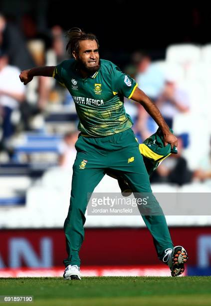 Imran Tahir of South Africa celebrates victory during the ICC Champions Trophy match between Sri Lanka and South Africa at The Kia Oval on June 3...