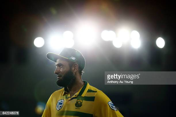 Imran Tahir of South Africa looks on after winning the first International Twenty20 match between New Zealand and South Africa at Eden Park on...