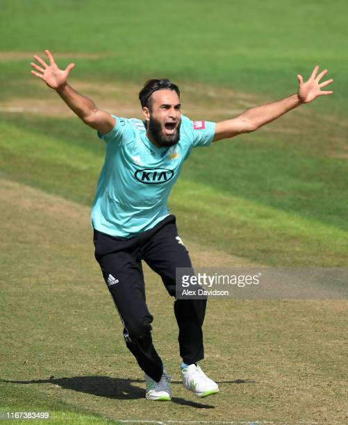 Imran Tahir of Surrey appeals for a wicket during the Vitality Blast match between Glamorgan and Surrey at Sophia Gardens on August 11, 2019 in...