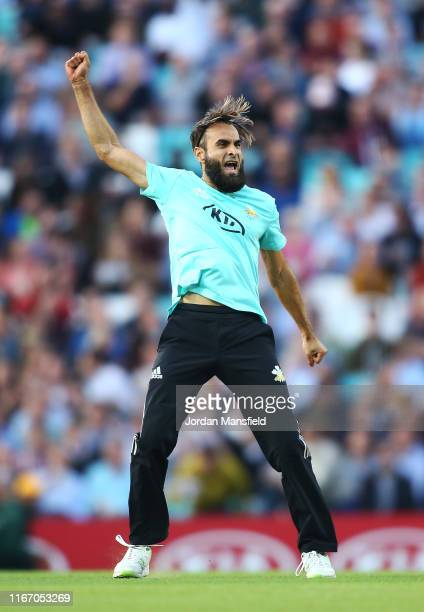 Imran Tahir of Surrey celebrates dismissing Ian Cockbain of Gloucestershire during the Vitality T20 Blast match between Surrey and Gloucestershire at...