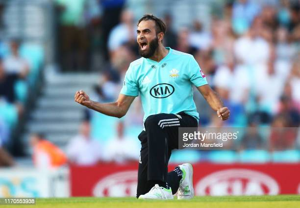 Imran Tahir of Surrey celebrates dismissing Tom Banton during the Vitality T20 Blast match between Surrey and Somerset at The Kia Oval on August 27...