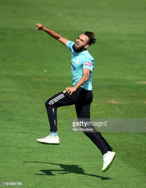 Imran Tahir of Surrey celebrates the wicket of Colin Ingram of Glamorgan during the Vitality Blast match between Glamorgan and Surrey at Sophia...