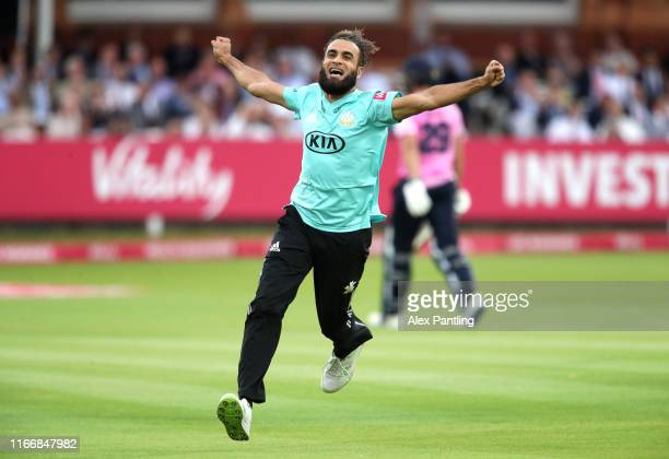 Imran Tahir of Surrey celebrates the wicket of D.J. Malan of Middlesex during the Vitality T20 Blast match between Middlesex and Surrey at Lord's...