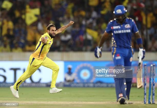 Imran Tahir of the Chennai Super Kings celebrates taking the wicket of Suryakumar Yadav of the Mumbai Indians during the Indian Premier League Final...