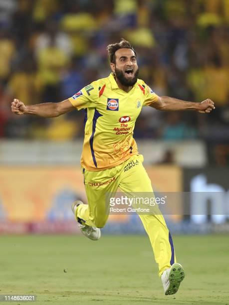 Imran Tahir of the Chennai Super Kings celebrates taking the wicket of Ishan Kishan of the Mumbai Indians during the Indian Premier League Final...
