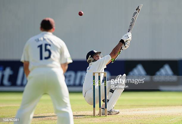 Imran Tahir of Warwickshire in action batting during the LV County Championship match between Warwickshire and Kent at Edgbaston on September 1 2010...