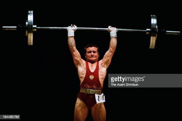 Imre Foldi of Hungary competes in the Weightlifting Men's Bantamweight during Tokyo Olympic at Shibuya Kokaido Hall on October 11 1964 in Tokyo Japan...