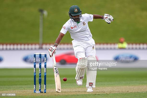 Imrul Kayes of Bangladesh avoids the ball during day one of the First Test match between New Zealand and Bangladesh at Basin Reserve on January 12...