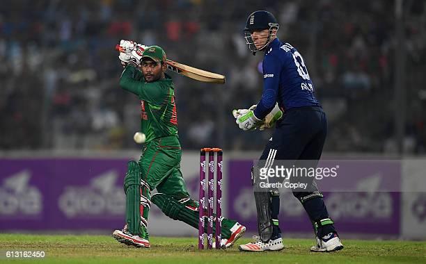 Imrul Kayes of Bangladesh bats during the 1st One Day International match between Bangladesh and England at ShereBangla National Cricket Stadium on...
