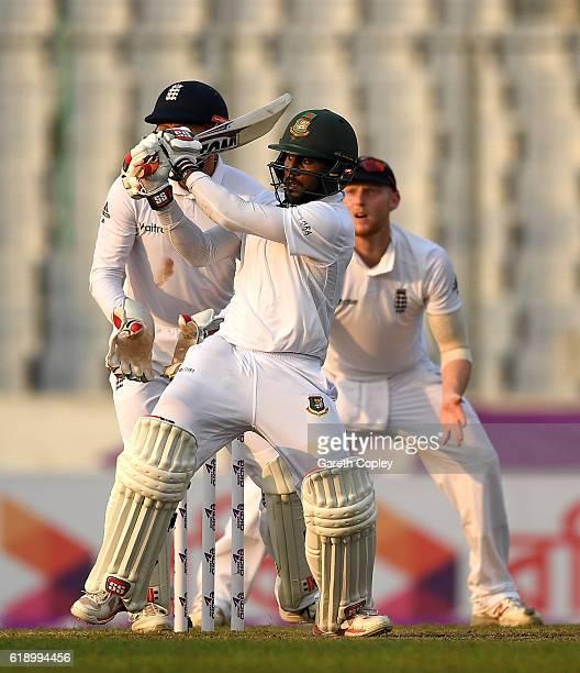 Imrul Kayes of Bangladesh bats during the second day of the 2nd Test match between Bangladesh and England at ShereBangla National Cricket Stadium on...
