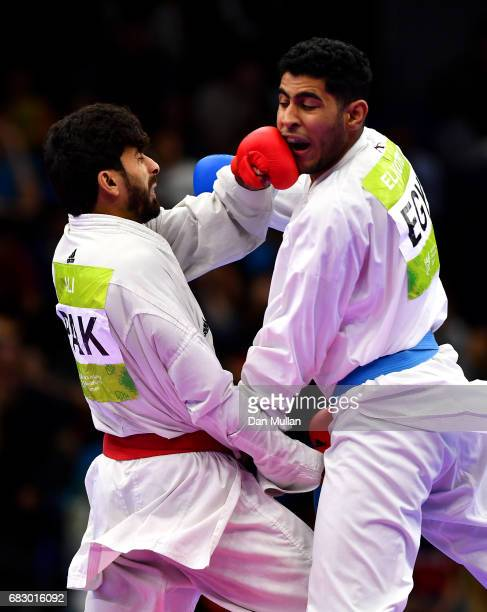 Imtiaz Ali of Pakistan competes against Mohamed Eltokby of Egypt in the Mens Karate Kumite 84kg bronze medal match during day three of Baku 2017 4th...
