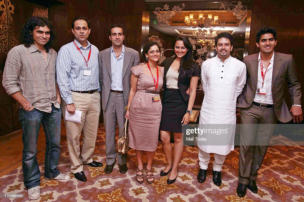 Imtiaz Ali Sanjiv Bajaj Aatish Taseer Kalli Purie Sonakshi Sinha Anurag Thakur and Vijender Singh during 10th India Today Conclave being held in the..