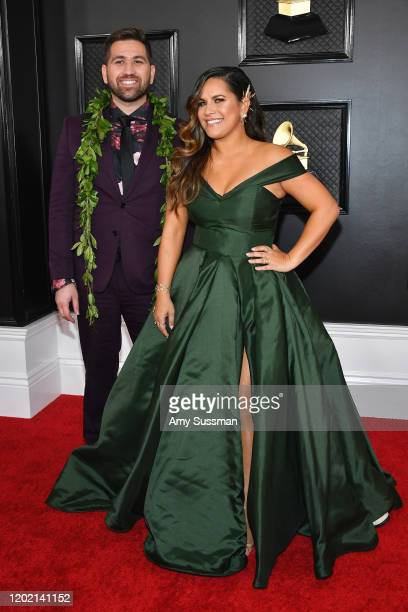 Imua Garza and Kimie Miner attend the 62nd Annual GRAMMY Awards at Staples Center on January 26 2020 in Los Angeles California