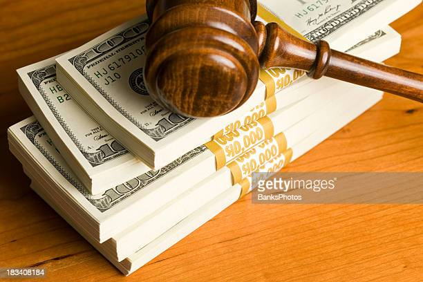 $50,000 in $100 bills on cherry desk with gavel - new cherry stock pictures, royalty-free photos & images