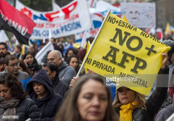 In 1500 people gathered is estimated the call for the march for the end of the private pension system on Sunday 3 September 2017 in Santiago Chile...
