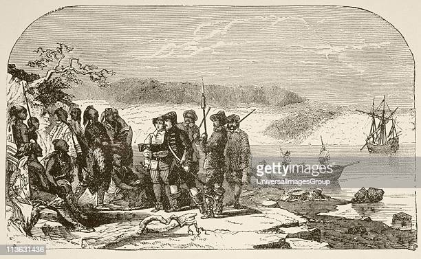 In 1609 Henry Hudson offers liquor to the Indians on the North River now known as the Hudson River From a 19th century illustration
