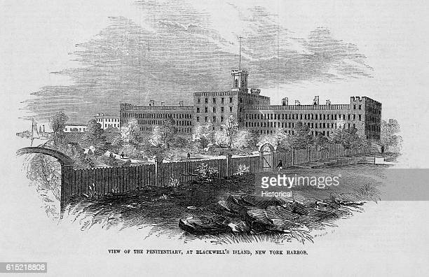 In 1853 the psychiatric hospital on Blackwell's Island, New York, boasted 496 cells for inmates. Illustration from Gleason's Pictorial Drawing Room...