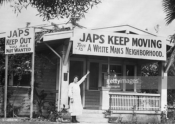 In 1923 the Hollywood Association started a campaign to expel the Japanese from their community Hollywood resident Mrs B G Miller points to an...
