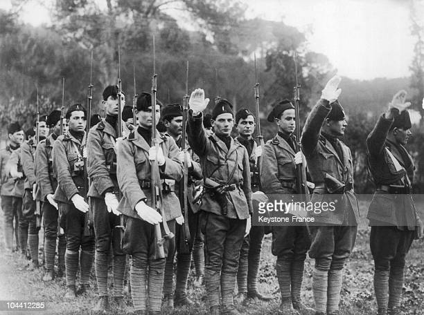 In 1924 in presence of the Italian King VICTOREMMANUEL III members of the Fascist militia pledged allegiance to the Italian army that they had just...