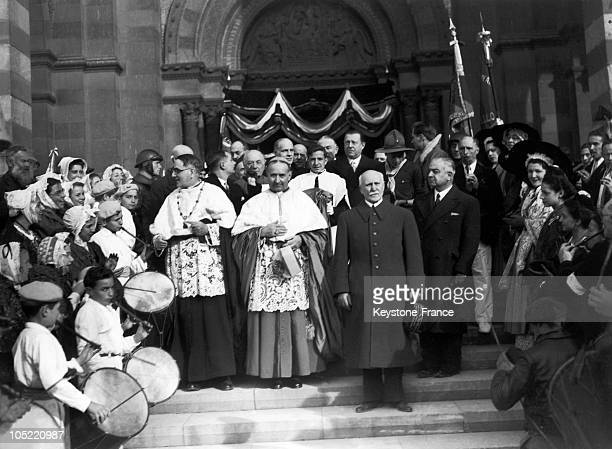 In 1941 Acclaimed By The Crowd Dressed In Traditional Outfits Marshall Petain Exits The Cathedral In Marseille Alongside Bishop Delay