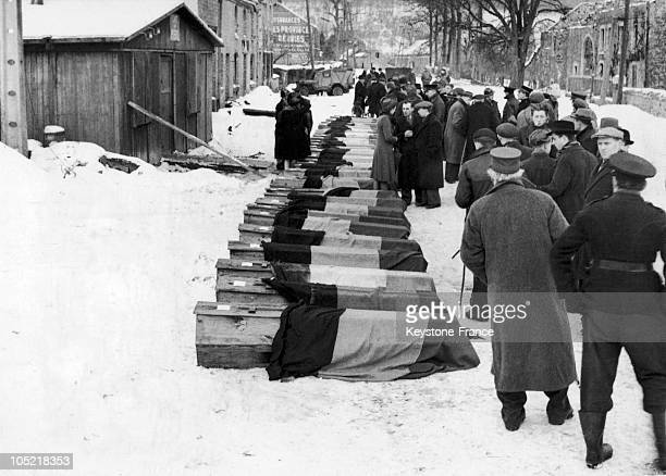 In 1944 The Coffins Of 34 Young Belgian Resistance Fighters Executed With A Shot To The Neck By The German Army Are Lined Up And Covered With The...