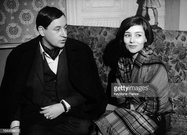 In 1962 the French actors Philippe NOIRET and Emmanuelle RIVA during the shooting of Georges FRANJU's film THERESE DESQUEYROUX a cinematographic...