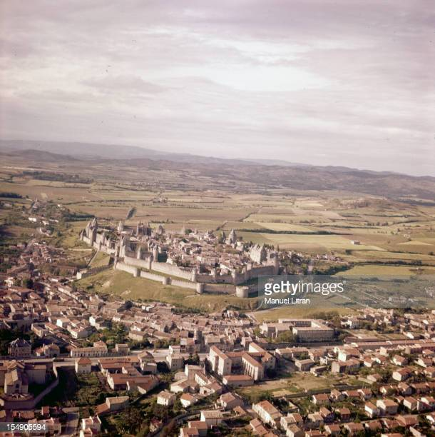In 1968 in France in the footsteps of 'Song of Roland' aerial view of the Cite of Carcassonne and the surrounding area