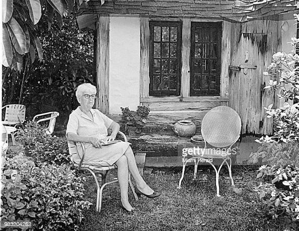 In a 1964 file photo Marjory Stoneman Douglas sits outside her home in Coconut Grove Fla Douglas an environmentalist was best known for her efforts...