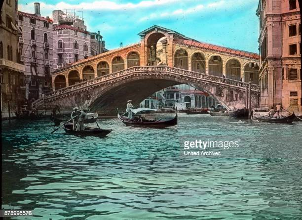 In a bold arch span of 28 meters and 7 1/2 meters high arches over the Grand Canal the Rialto Bridge which was the only road connecting the two banks...