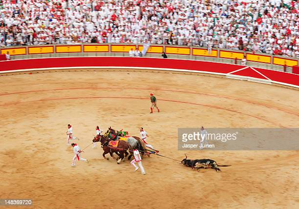 A in a bullfight killed El Pilar fighting bull is pulled out of the bull ring by horses on the fourth day of the San Fermin runningofthebulls on July...
