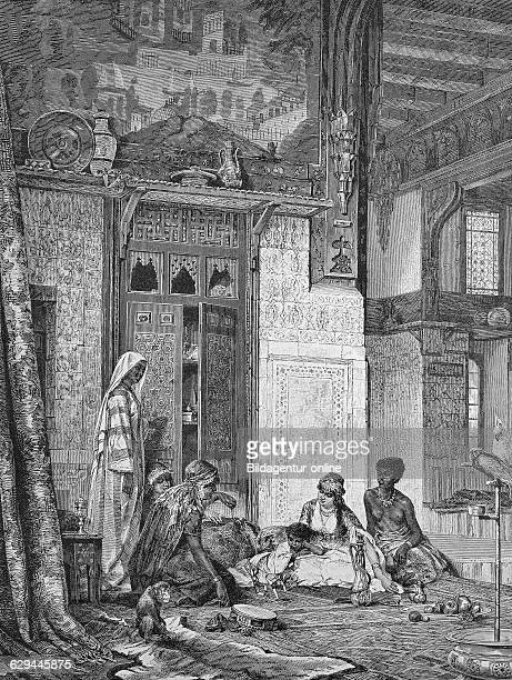 In a caliph's harem historic wood engraving ca 1880
